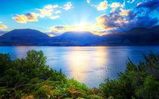 Фото бесплатно озеро, берег, небо