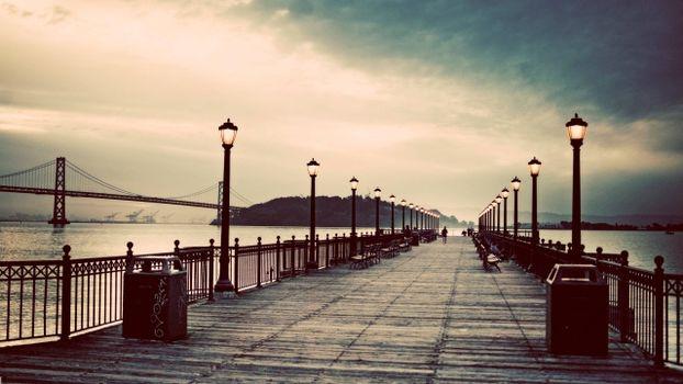 Бесплатные фото мостик,побережье,остров,люди,фонари