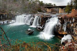 Фото бесплатно река, водопад, мост
