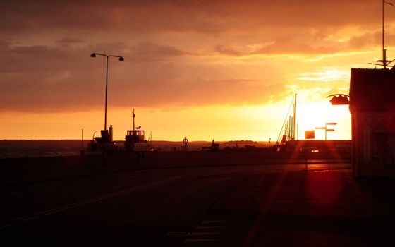 Фото бесплатно кофе, закат, корабль