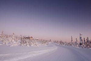 Бесплатные фото Лапландия,Финляндия,зима,дорога,закат,деревья,домики