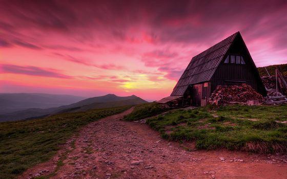 Фото бесплатно старый дом, горная местность, закат