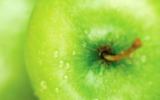 Заставки фрукт, яблоко, зеленое, хвостик, капли, вода