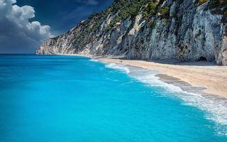 Заставки берег, море, песок, люди, скалы, растительность