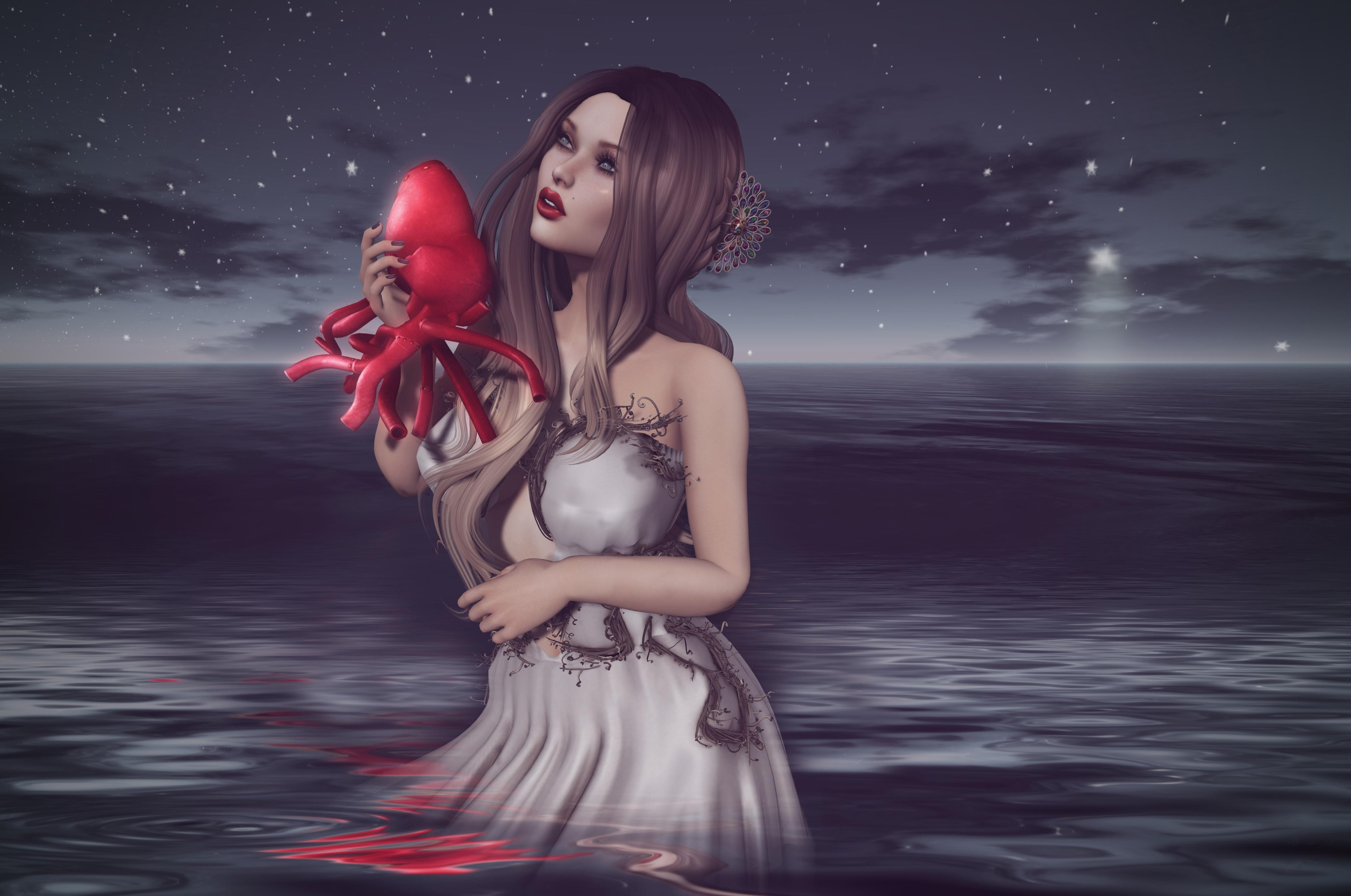 Обои девушка, море, сердце