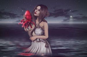 Фото бесплатно девушка, море, сердце