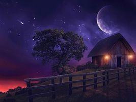 Бесплатные фото ночь,луна,старый дом,забор,дерево,art