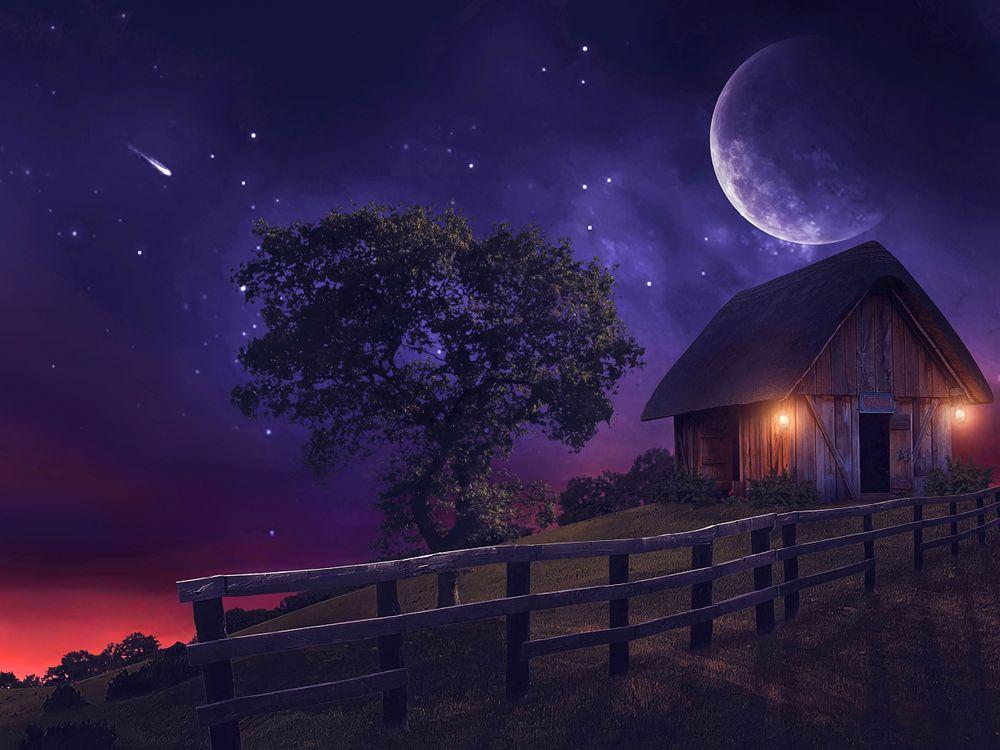 Фото бесплатно ночь, луна, старый дом, забор, дерево, art, рендеринг