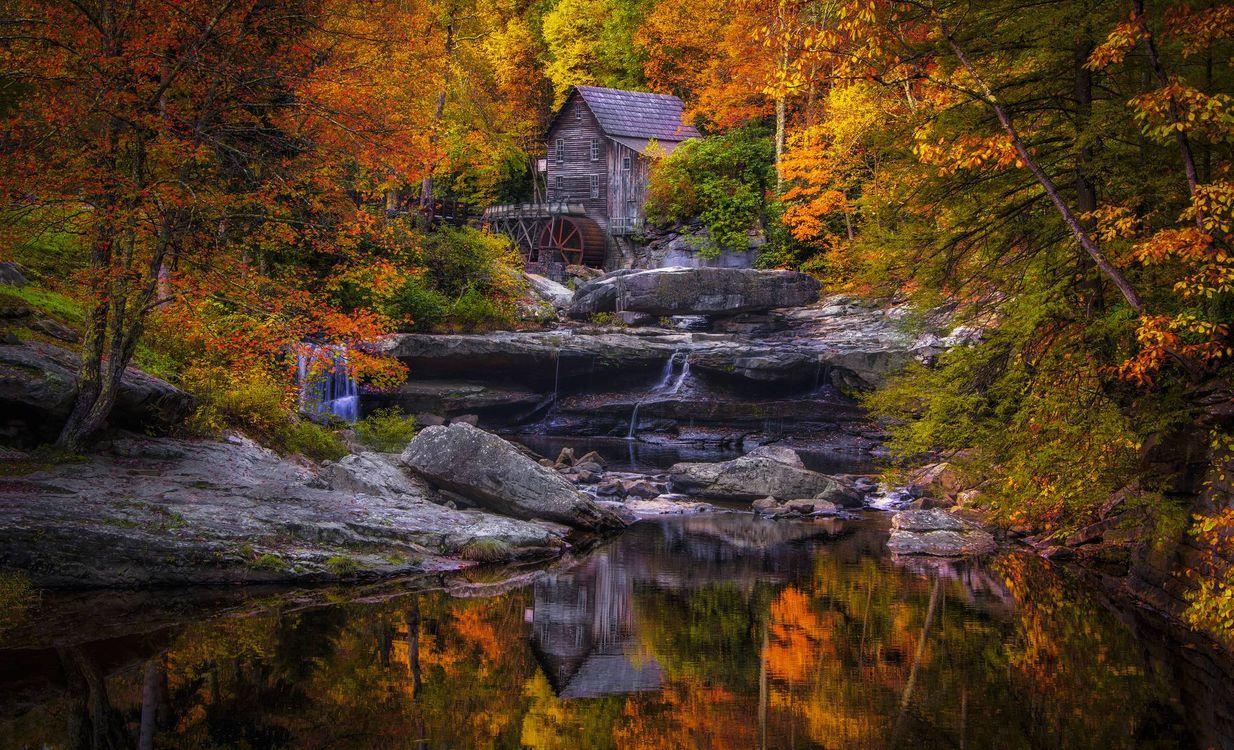 Фото бесплатно Glade Creek Grist Mill, West Virginia, водяная мельница - на рабочий стол