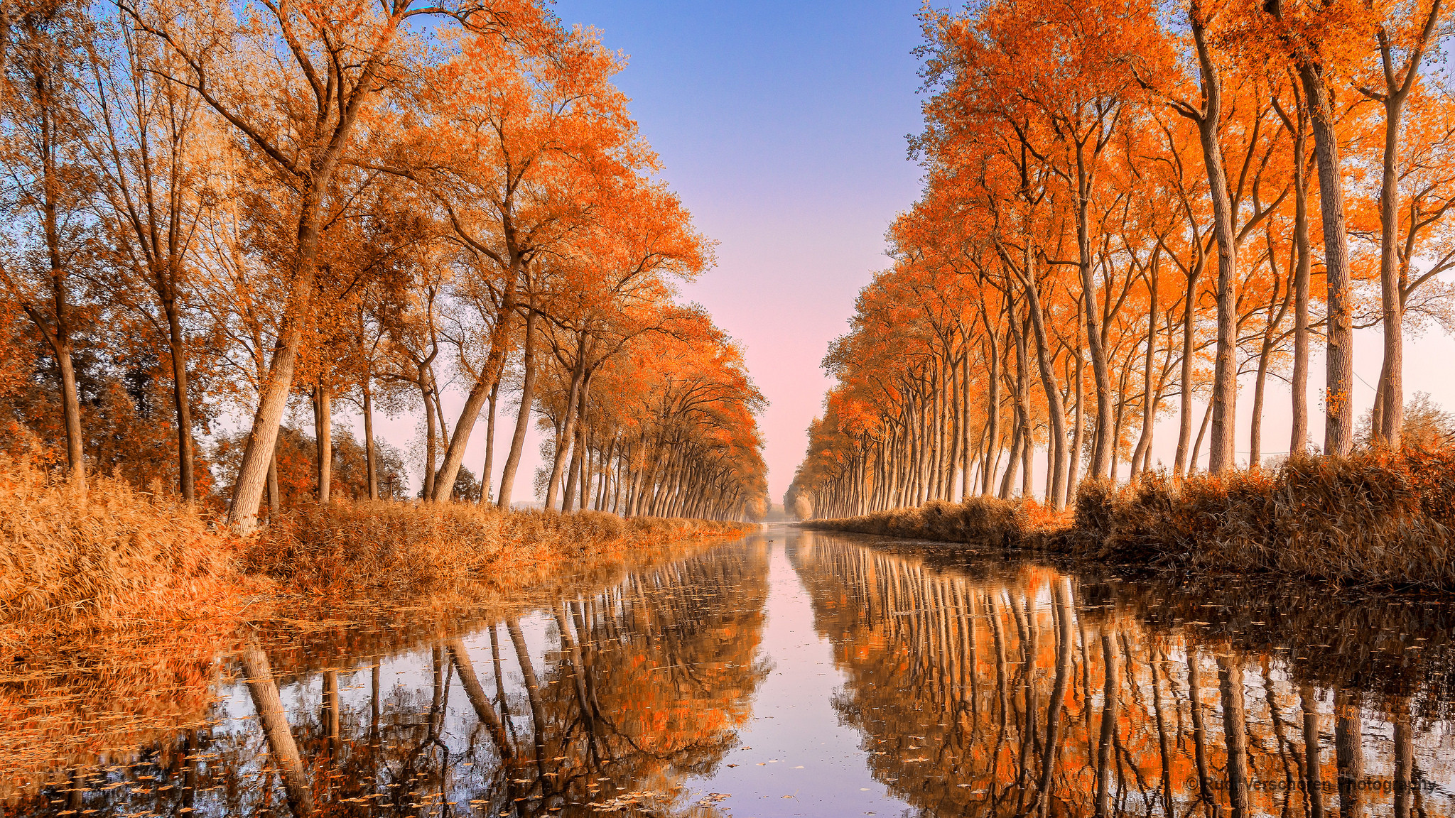 обои осень, река, канал, деревья картинки фото