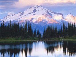 Бесплатные фото озеро,гладь,отражение,деревья,лес,горы,снег