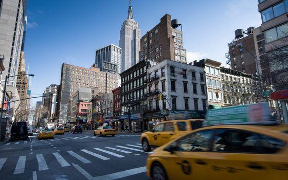 Фото бесплатно центр, Нью-Йорк, такси