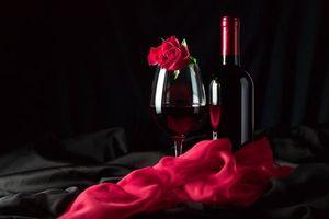 Фото бесплатно роза, бокал, вино