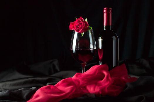 Photo free rose, glass, wine