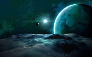 Бесплатные фото планеты,поверхность,солнце,звезды,свечение,невесомость