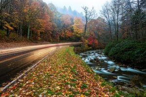 Бесплатные фото Грейт-Смоки-Национальный парк,штат Теннесси,осень,дорога,река,лес,деревья