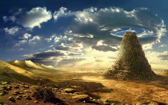 Бесплатные фото пирамида,облака