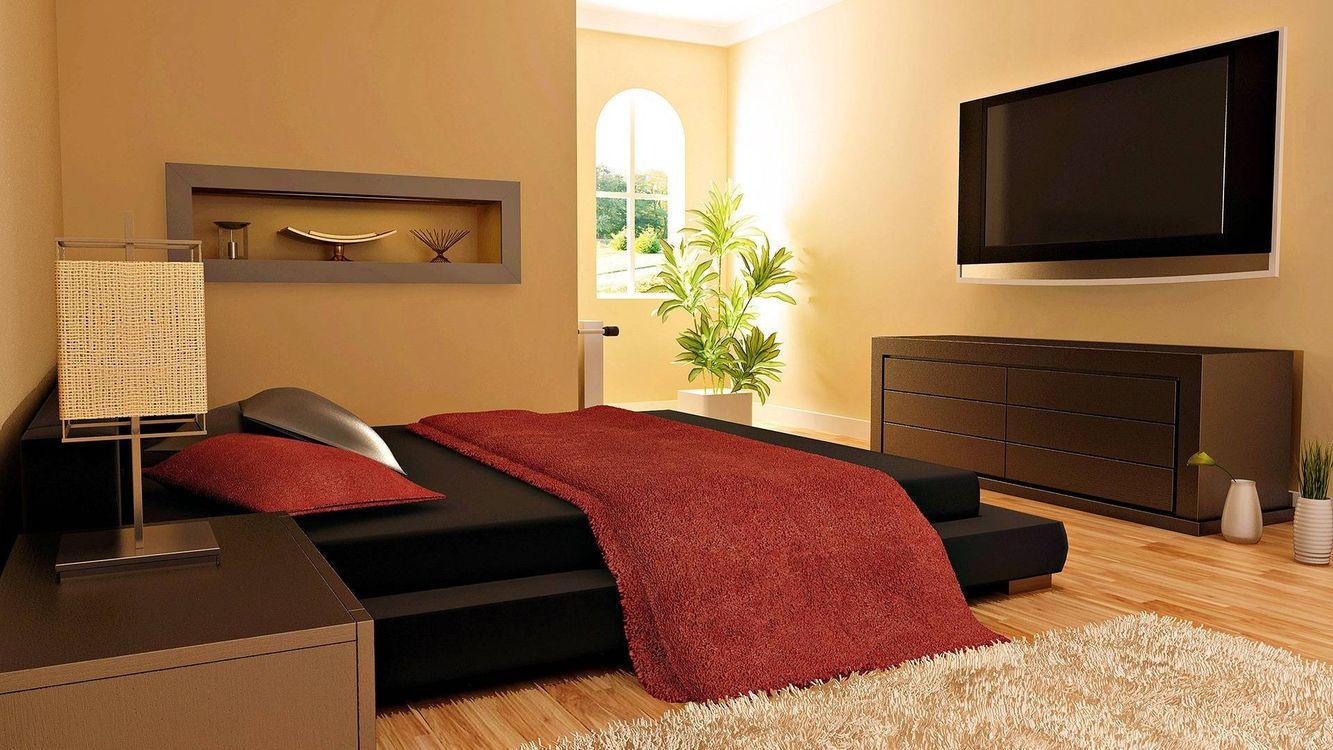 Фото бесплатно спальня, кровать, подушки, плед, тумбочка, светильник, полка - на рабочий стол