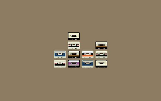 Photo free audio cassettes, music, background gray