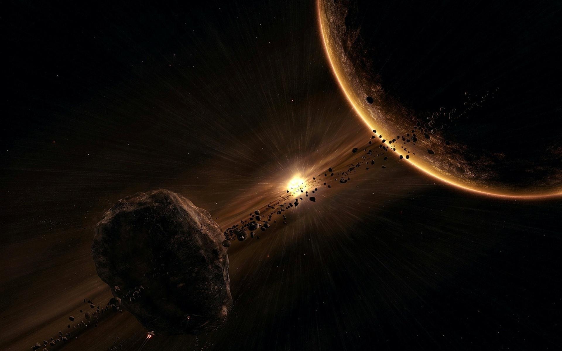обои Планета и астероидный спутник, планета, взрыв звезды, космический корабль картинки фото
