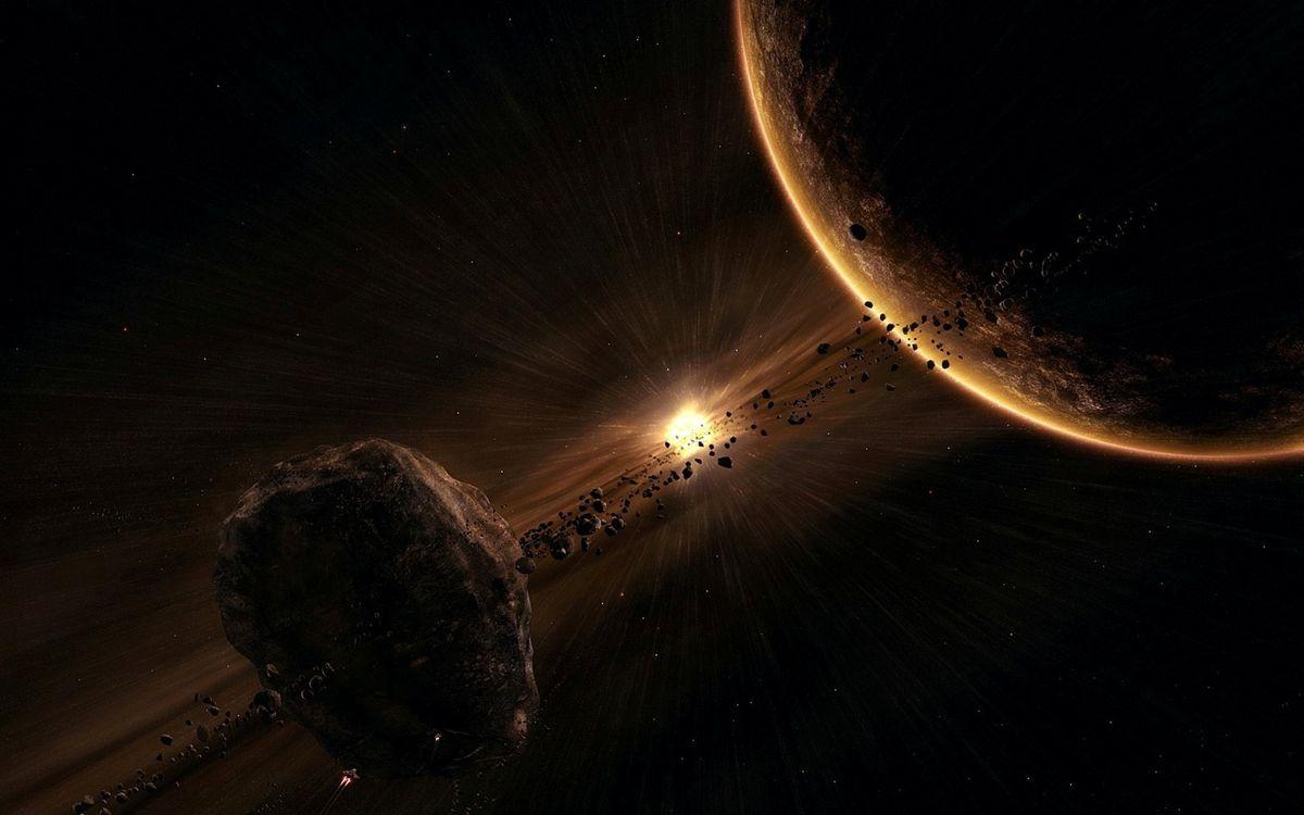 Фото бесплатно Планета и астероидный спутник, планета, взрыв звезды, космический корабль, метеориты, астероиды, космос - скачать на рабочий стол
