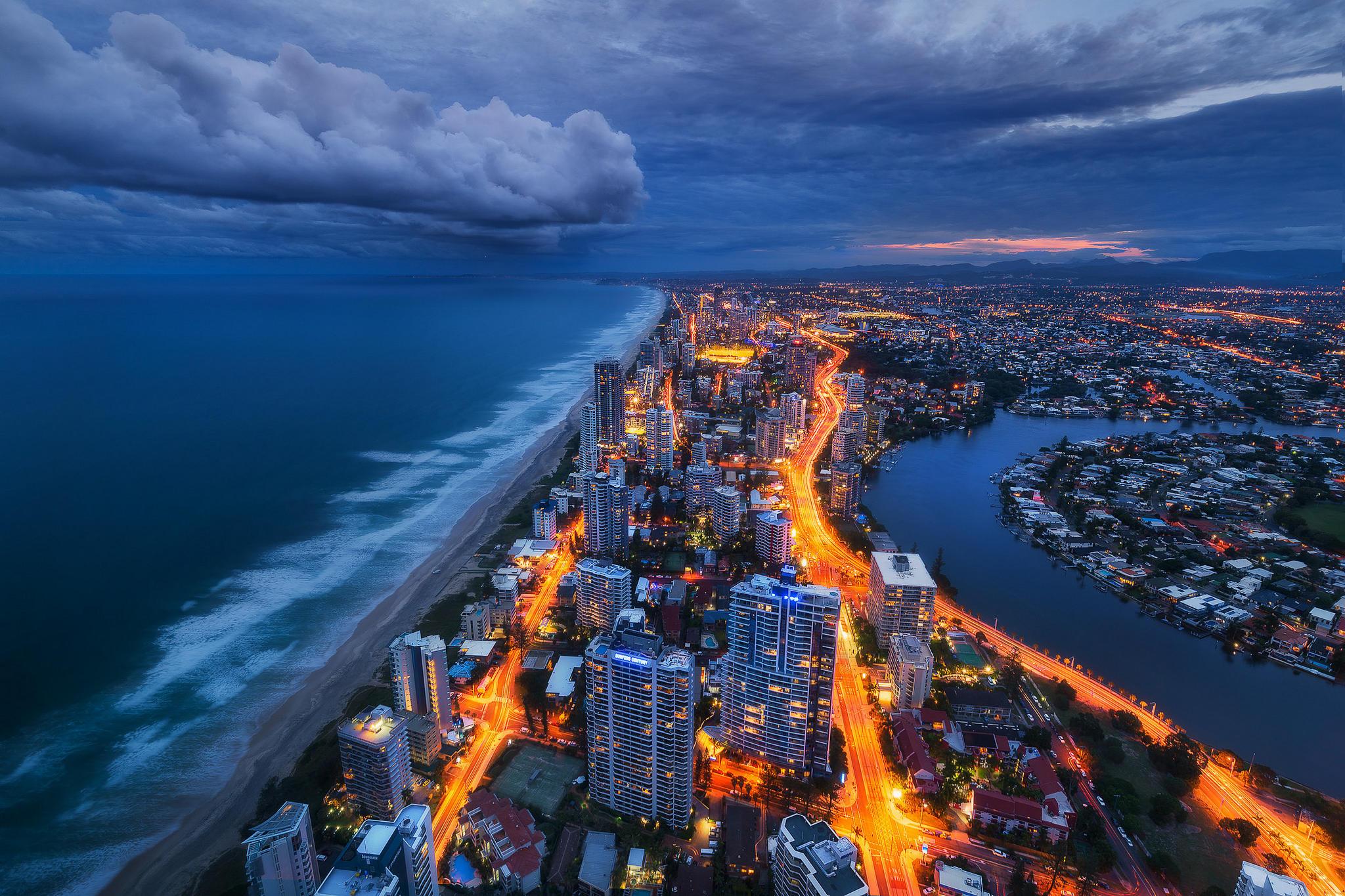обои Золотое побережье, Квинсленд, Австралия, закат картинки фото