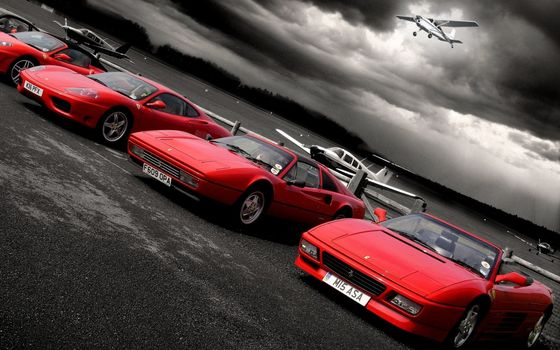 Photo free aerodrome, airplanes, ferrari