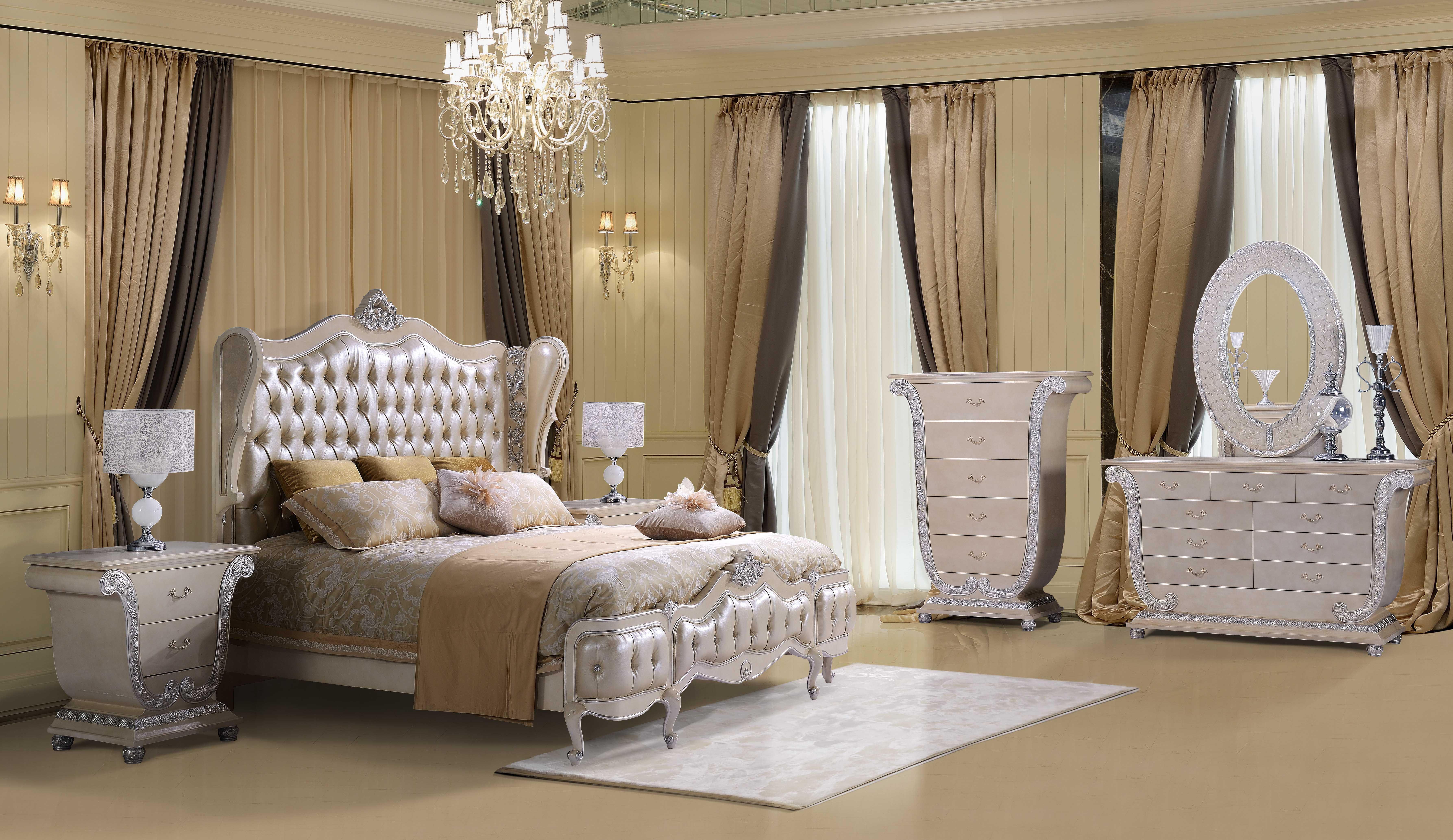 Обои интерьер, спальня, кровать, зеркало