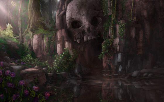 Фото бесплатно озеро, скала, череп