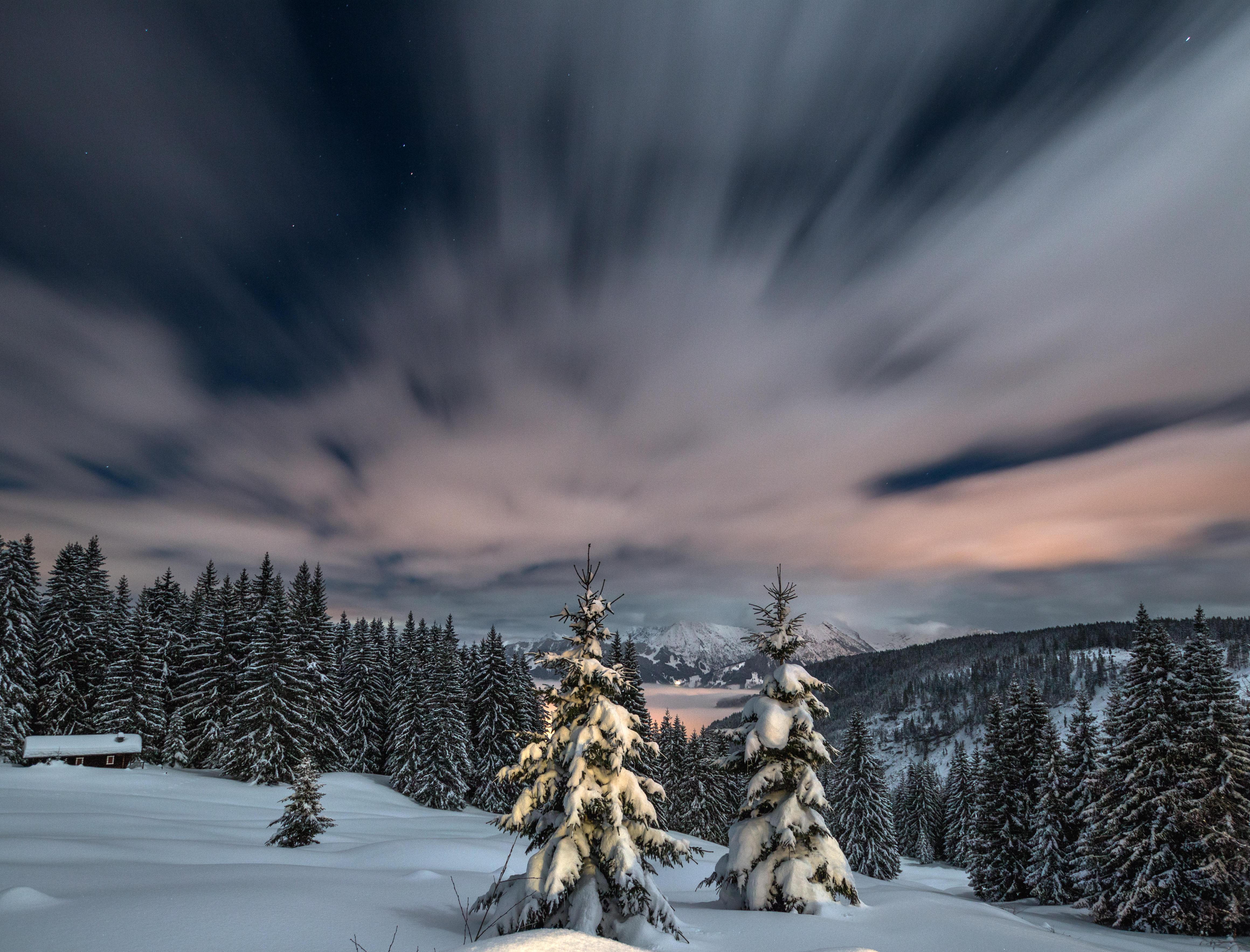 обои зима, закат, снег, горы картинки фото