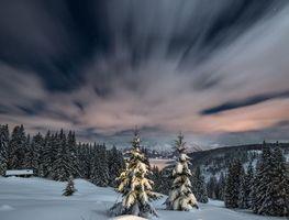 Бесплатные фото зима,закат,снег,горы,деревья,сугробы,пейзаж