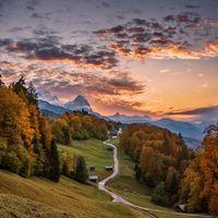 Бесплатные фото Бавария,Германия,закат,горы,лес,деревья,дорога