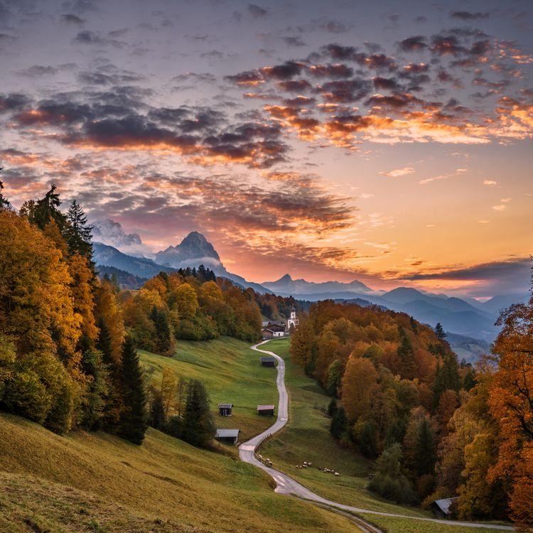Фото бесплатно Бавария, Германия, закат - на рабочий стол