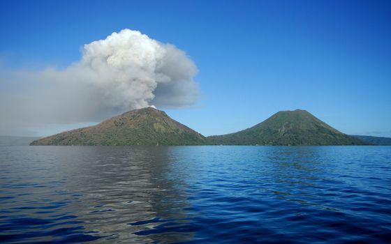 Фото бесплатно море, остров, вулканы