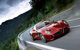 Бесплатные фото альфа ромео,вишневая,горы,дорога,скорость,отбойник