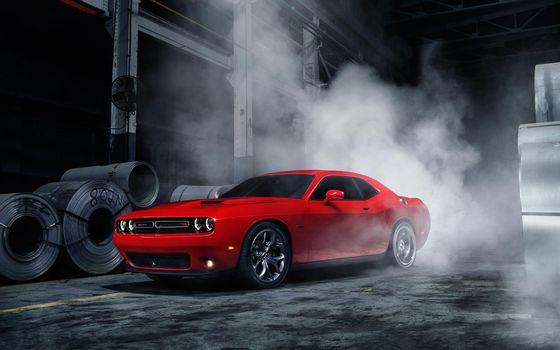 Бесплатные фото Dodge,ярко-красный,дым,паленая резина,гараж