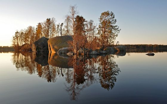 Фото бесплатно скалистый островок, река, осень