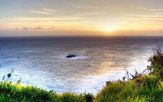 Фото бесплатно берег, трава, море, горизонт, небо, солнце