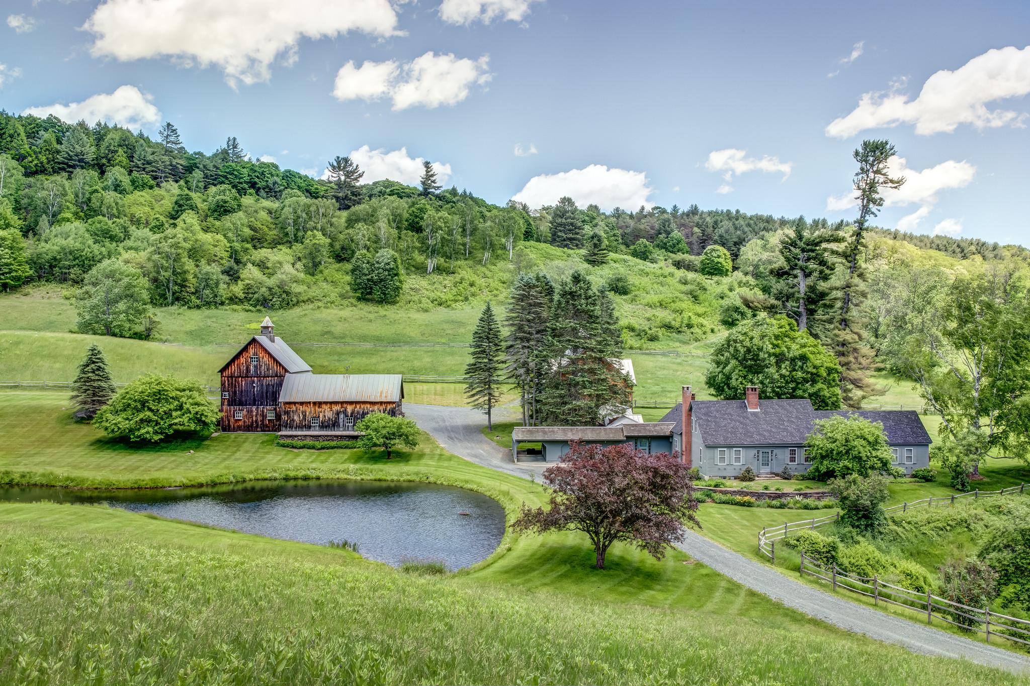обои Новая Англия, Вермонт, поле, водоём картинки фото