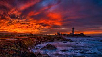 Заставки закат,небо,маяк,океан,берег