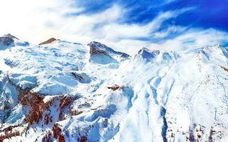 Заставки гора,холм,снег,елки,высота
