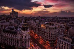 Заставки огни, Мадрид, ночь