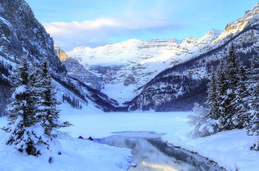 Заставки зима, банф, озеро