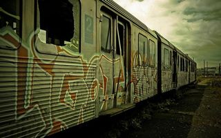 Photo free old cars, electric train, broken windows