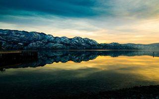 Фото бесплатно мостик, пристань, озеро, отражение, горы, небо, облака