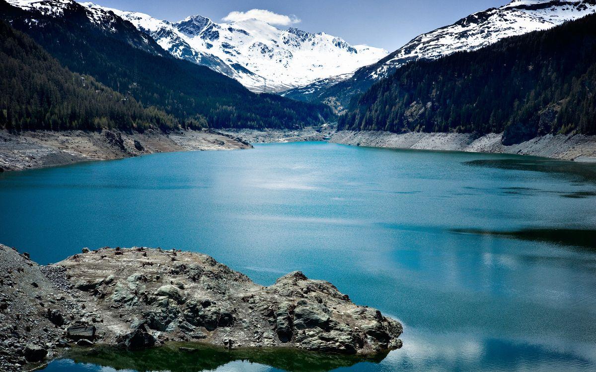 Фото бесплатно озеро, небо, снег - на рабочий стол