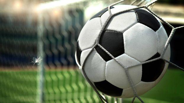 Фото бесплатно ворота, футбольный мяч, сетка