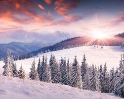 Бесплатные фото закат,зима,снег,горы,деревья,холмы,пейзаж