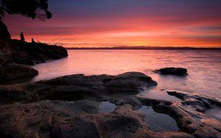 Бесплатные фото берег,камни,рыбаки,удочки,озеро,небо,закат
