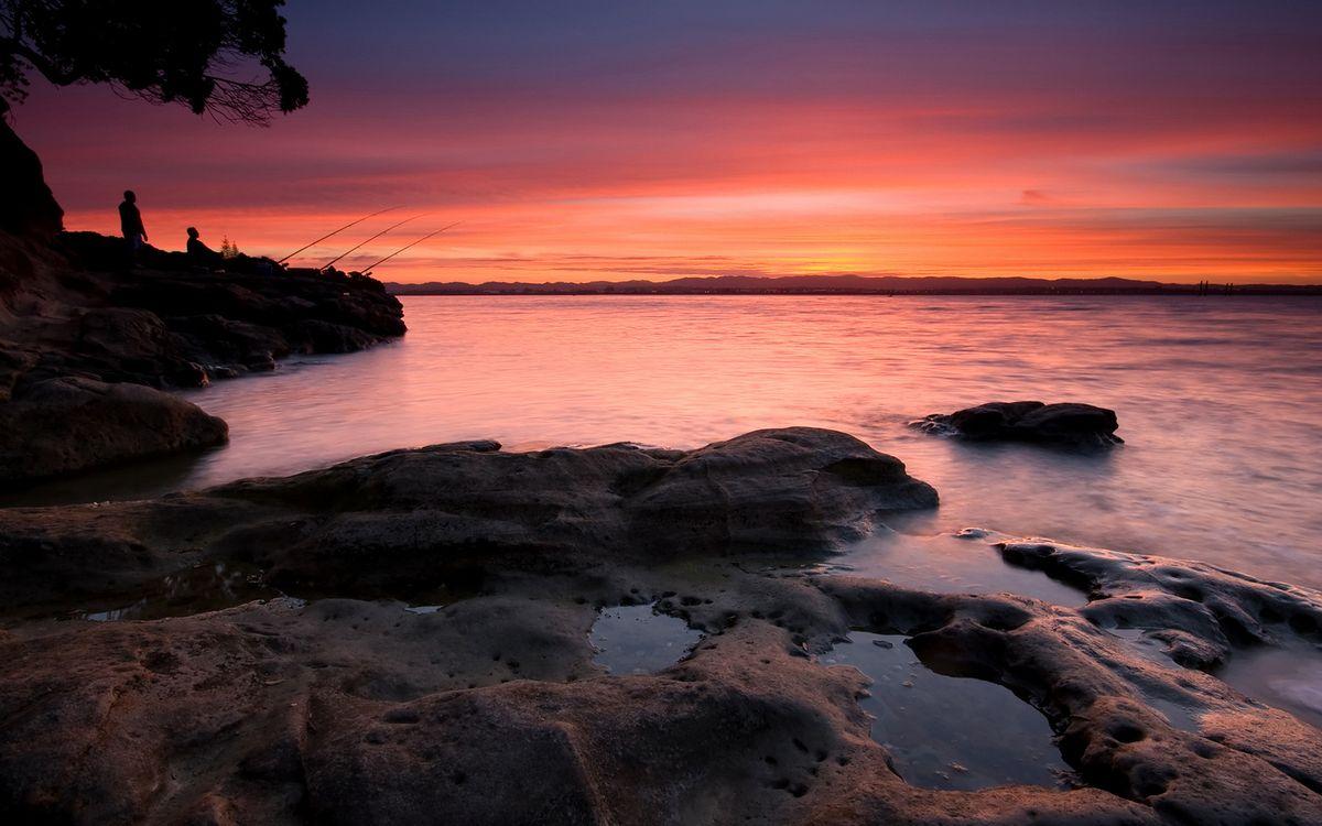 Фото бесплатно берег, камни, рыбаки - на рабочий стол